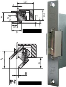 impulzus nyitású elektromos zárfogadó