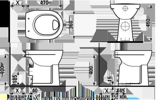 egyedi akadálymentes WC-csésze - álló